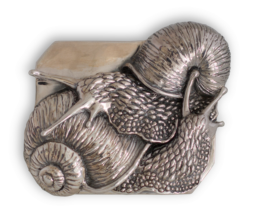 Broche artesanal en plata de un Caracol