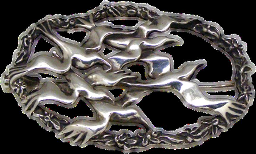 Broche artesanal en plata de una Bandada de Cuervos