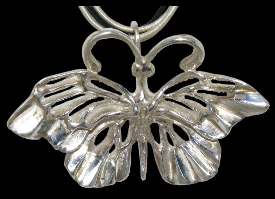 Colgante artesanal en plata de una Mariposa en Primavera