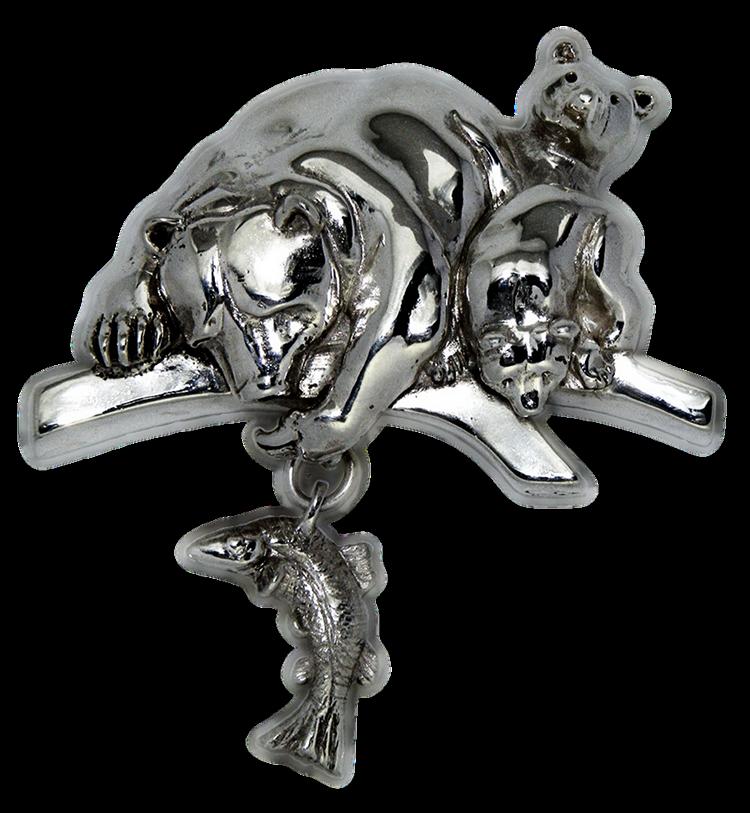 Broche artesanal en plata de una Mamá Osa
