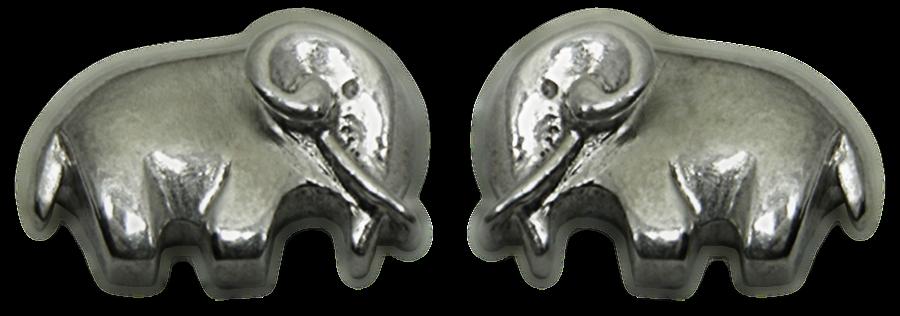 Pendientes artesanales en plata de un Elefante