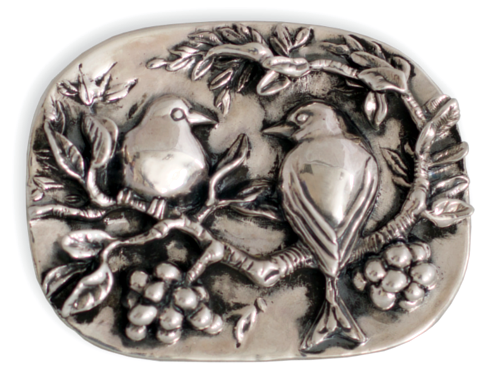 Broche artesanal en plata de unos pájaros